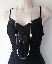 "Gorgeous 40"" long boho style vintage silver tone & lilac chain & bead necklace"