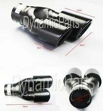 TWIN EXHAUST PIPES MUFFLER TRIM PIPE TAIL TIP BLACK LEFT SPORT DUAL UNIVERSAL