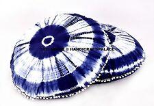 1 Pair of Blue Shibori Round Floor Pillow Indian Handmade Cushion Covers Ottoman
