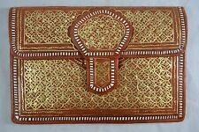 VINTAGE 1970s tan leather Middle Eastern clutch bag with gold geometric design