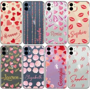 Personalised Phone Case For iPhone 13/12/11/XR Initial Lips/Heart Clear Cover
