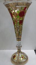 VASO ALTO IN VETRO DI MURANO CON ROSE ROSSE ART. 5579 ARREDO CASA SALA STANZA