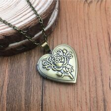 Women bronze-plated box Heart-shaped picture Photo Pendant Necklace open