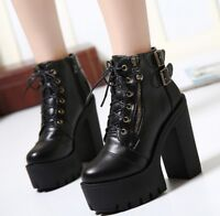 Womens Block High Heel Platform Punk Ankle Boots Lace Up Riding Chunky Stud Shoe