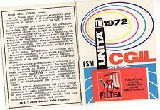 TESSERA  CGIL  FILTEA   1972   PROVINCIA  DI  BRESCIA
