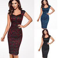 Womens Lace Elegant Vintage Office Work Casual Bodycon Pencil Sheath OL Dress