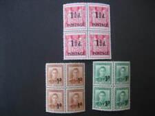 NUOVA Zelanda kgvi il provisionals di 1950-53 in blocchi di 4 NHM SG700+712/3