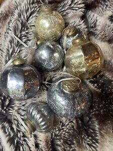 Restoration Hardware christmas ornaments cracked glass silver and gold Balls 7