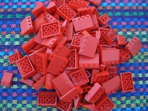 100 Lego Basic Dachsteine / Dachziegel flach rot City Haus Schrägsteine 33° L002