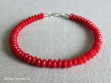 Rich Red Coral Slim Stacking Sterling Silver Bracelet - Gift For Her Under £15