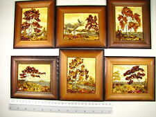 Genuine Baltic Amber Natural Hand Made Wooden Pictures #102 Lot of 6pcs