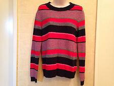 TOMMY HILFIGER Womens Multi Angora Blend Striped Crewneck Sweater Top M.