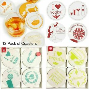 Set Of 12 Coasters Drinks Alcohol Style Place Cork Mats Round Cups Coffee Tea