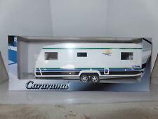 Cararama Oxford ND4 1/43 escala Caravana Grande Blanco Polar Rayas Verde Azul Negro