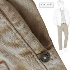 Westbury señores pantalones beige talla 35/32 Stretch 63% - Leinen 36% - algodón 1% - elastano