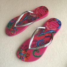 BNWOT Havaianas INFRADITO Tropical PINK Print METALLIC Silver THONGS Size 7/8 39