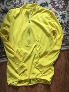 Cycling Jersey Long Sleeve Yellow Shirt Biker Size L- XL Tall; (Runs Small)