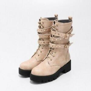 Retro Women Ankle Boots Punk Lace Up Rivet Motorcyle Buckle Combat Boot Shoes