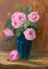 Original oil painting art floral vintage style shabby chic wall decor pink roses