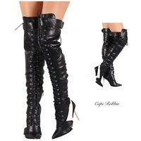 New Women's Over The Knee Thigh High Lace Up Stiletto Heel Sneaker Boots