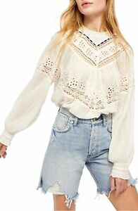 Free People Abigail Victorian Top Lace Ribbon Ivory Peasant SIZE LARGE NWT