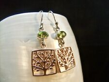 Green Peridot Gemstone With Rose Gold Accents Silver Sterling Earrings