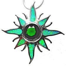 "Silver 925 SF Pendant Green Lab Fire Opal & Emerald STARBURST - 1 1/4"" Long"