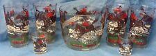 Fox Hunt Hunting 7 Piece Ice Bucket and Glasses Bar Set Hazel Atlas