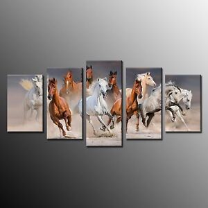 FRAMED Canvas Running Horse Painting Picture Print for Home Decor Wall Art 5pcs