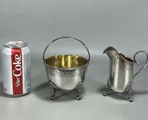c1864-69 American Coin Silver Grecian Cream Pitcher & Sugar Bowl Crosby & Morse