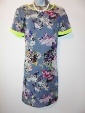 BNWT Fearne Cotton Neon Trim Floral Shift Evening Occasion Summer Dress Size 12