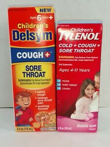 Delsym Cough Childrens Tylenol Cold Sore Throat Fever Relief Kids Lot of 2