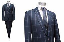 Herren Anzug Blau Kariert Slim-fit Gr.52 navy Blau
