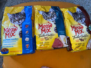 3 Meow Mix Dry Cat Food, Tuna Turkey, Seafood  (3lb Bag) 9 lbs Total