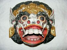 VINTAGE THAI CARVED WOODEN DRAGON LION MASK, BALSA WOOD HAND PAINTED