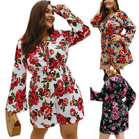 Womens Floral Bell Sleeve Summer Beach Casual Jumpsuit Playsuit Dress Plus Size