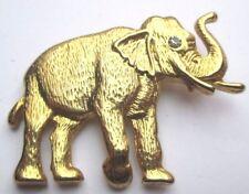 broche bijou rétro couleur or poli éléphant porte bonheur cristal diamant 1804