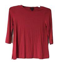 J. Jill Women's Size XS Sleeve Tee Shirt Top Crewneck 3/4 Sleeve Burnt Orange