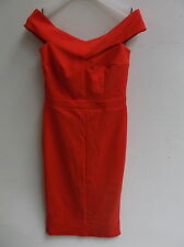 New Look Bardot Bodycon Dress Red UK 8 US 4 EUR 36 RRP £22.99 (ca116)