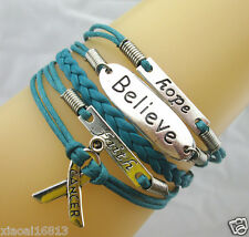 Hope/Believe/Faith/Breast Cancer Awareness Ribbon Charms Leather Bracelet - Teal