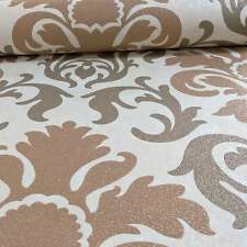 P&S Carat Luxury Copper Brown Gold Glitter Damask Textured Wallpaper 13343-50