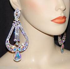 Rhinestone Crystal Chandelier Party Earrings Silver Bridal W Ab Iridescent