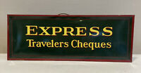 Vintage Tin Metal Express Travelers Cheques Plaquard Stand Up Sign Plaque Green