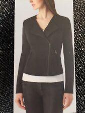 Catherine Malandrino Limited Runway Moto Black White Tweed Zip Up Jacket XXL