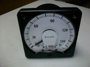 "WESTINGHOUSE 4 1/2"" X 4 1/2""  0-150 V. Ac. PANEL BOARD METER  25-100 Hz."
