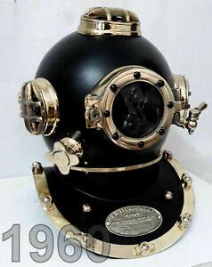 Antique Black Vintage Scuba Diving Helmet US Navy Mark V Deep Sea Boston Divers