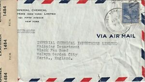 1944 USA WWII censored cover sent from New York to Welwyn Garden City England