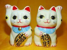 2 Pcs White Japanese Pottery Maneki Neko Beckoning Money Good Fortune Lucky Cat