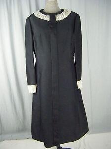 ADELE SIMPSON Vtg 60s Black Silk A-line Dress w/Ivory Lace-Bust 41/ M-L