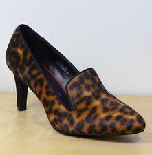 M&S Ponyskin LEATHER Leopard Print COURT SHOES ~ Var Sizes / WIDER Fit